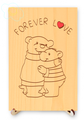Forever Love Bears Hug Real Wood Postcard